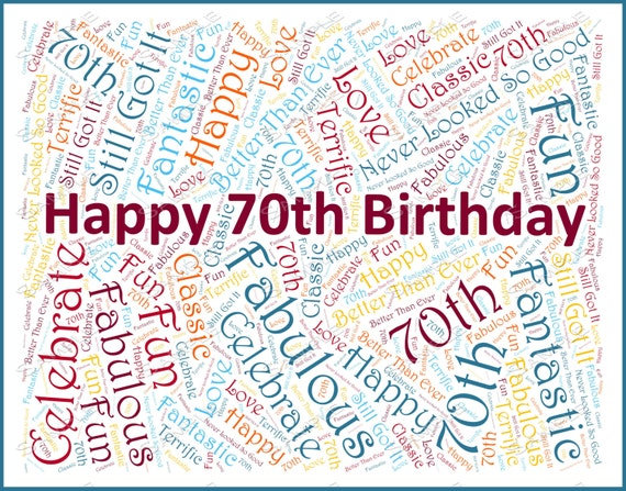 Birthday party 70th decoration 70th birthday by jdpprints for Decoration 70th birthday
