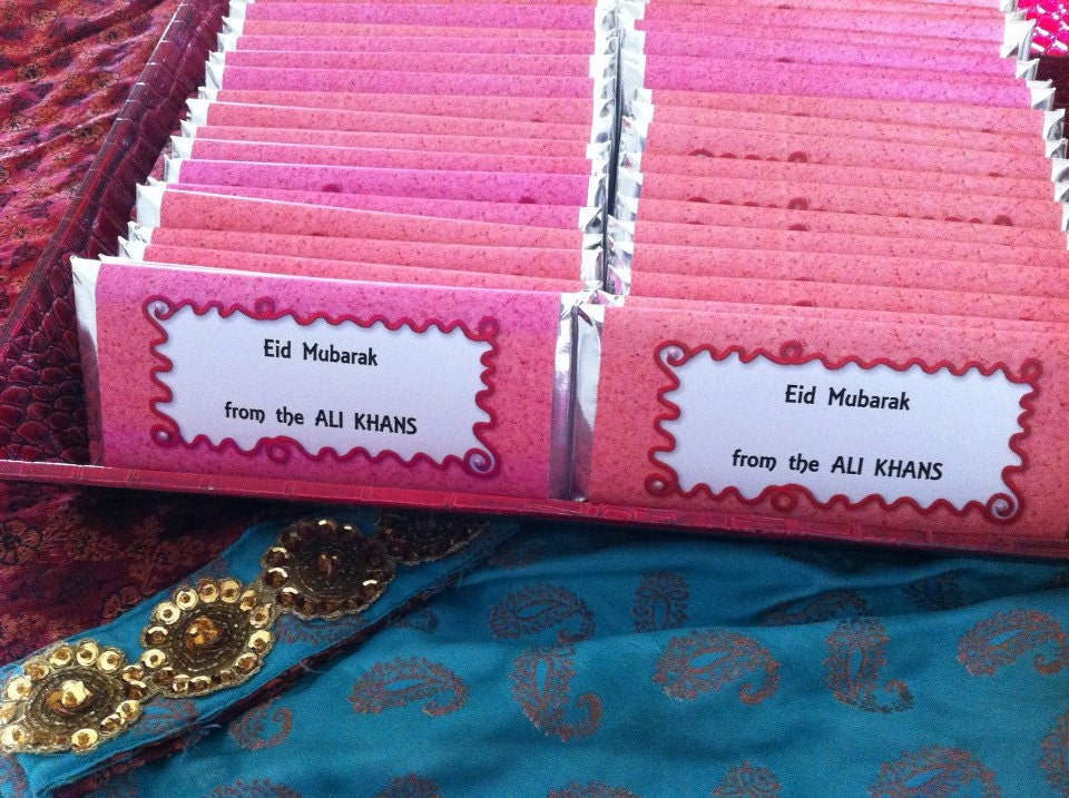 Muslim Wedding Gift: Red Personalized Candy Wrappers, Islamic Gifts, Muslim