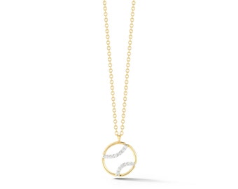 "AF Jewelers ""Tennis Anyone?"" Small Pendant Necklace with Diamonds and with Chain, 18k Yellow and White Gold."