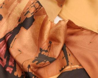Gold Silk Scarf (Skinny or Wrap) - Shipyard Horizon