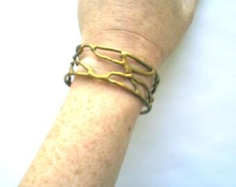 Cool vintage modernist organic style brass cuff bracelet