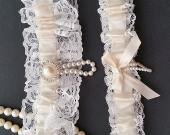 White lace garter set, Ivory satin, Pearl Rhinestone Button, Wedding garter, Bridal garter, Prom garter, Garter set, Custom garter