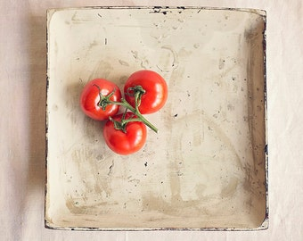 3 ripe tomatoes on the vine in shabby chic tray, Plump red vibrant fruit Fine art food photography, Kitchen wall art, Home Decor