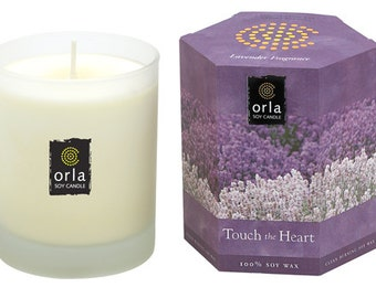 Lavender Scented Candle Natural Soy Wax Touch the Heart 7.5 oz. Orla Soy Candle Mother's Day