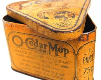 Vintage Tin - O'Cedar Triangle Mop Advertising Container