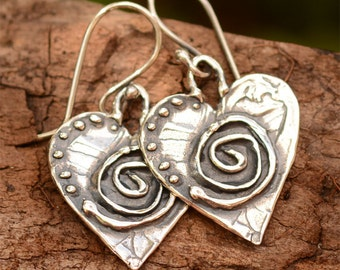 Artisan Handcrafted Spiral Heart Earrings, Sterling Silver Heart Earrings