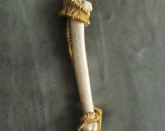 Wire Wrapped Animal Bone Pendant