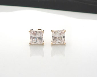 Princess cut square stud earrings with beautiful cubic zirconia and sterling silver posts bridal wedding jewellery
