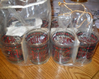 "Sears ""Happy Holidays"" Glasses - Set of 8 with original plastic bags - Never used."