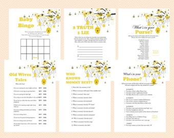 Bee Theme Baby Shower Games Printable, Bumble Bee Baby Shower Games, Honey bee, Gender Reveal Theme Games TLC05