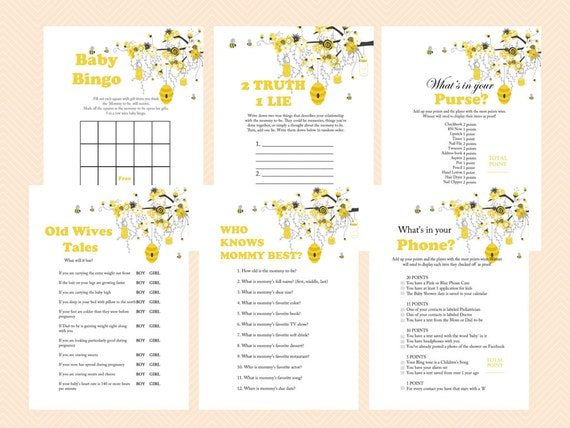 Bee Theme Baby Shower Games Printable Bumble Honey Gender Reveal TLC185