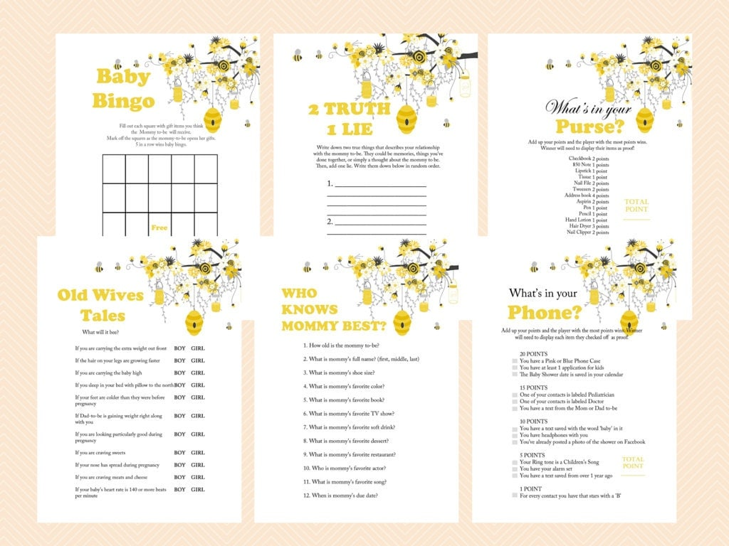 bee theme baby shower games printable bumble bee baby shower