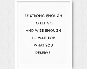 Be Strong Enough - Motivational Quote Print Inspirational Saying Typographic Minimalist Digital Printable Black & White Design Text Art Word
