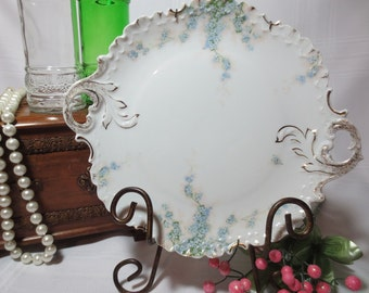 Rosenthal Monbijou White Plate with Pale Blue Flowers and Handle Cut-Outs