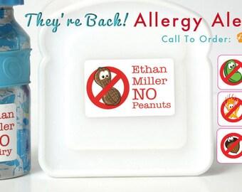 Food Allergy Alert Labels for Kids (Waterproof, Daycare, School, Camp, Preschool, Stickers, Decals)