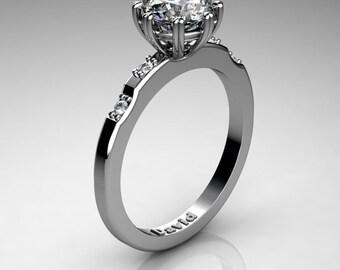 Classic 14K White Gold 1 Carat White Sapphire Diamond Solitaire Engagement Ring R1005-14KWGDWS
