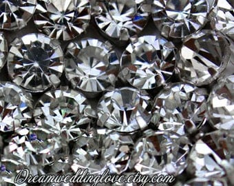 50pcs 5mm 6mm 7mm 8mm 10mm Crystal Clear Czech Sew on Rhinestones Silvery set with 4 Hole Slider /Wedding Supplies