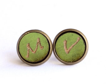 Tiny Stud Earrings, Wood Earrings, Grass Green Earrings, Initial Earrings