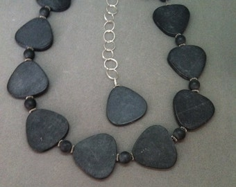 Grey Natural Stone and Sterling Silver Adjustible Necklace