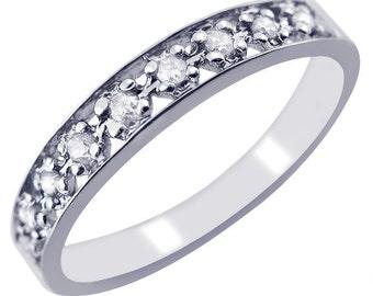 Diamond Wedding Band, 0.11ct Diamond Band, 10k White Gold Band, Wedding Band, Anniversary Wedding Band, Pave Set, Handmade, Stacking Ring