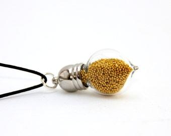 Pendant small drop glitter gold