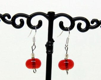 File torch red Murano glass earrings