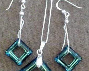Gemstone silver pendants Swarovski-Peacock