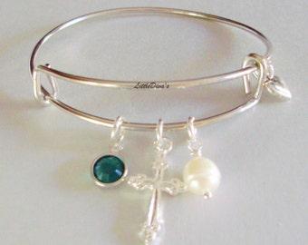 GIRLS First Communion CROSS Charm Adjustable Bangle  W/ Swarovski  Birthstone Crystal Drop A Silver Tone Heart/ Pearl Religion  FC1