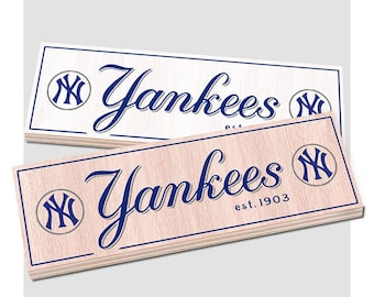 """New York Yankees  Wood sign - 7"""" x 22"""" Yankees fan wall hanging - Boys room Man cave decor - Fathers Day gift for Dad"""