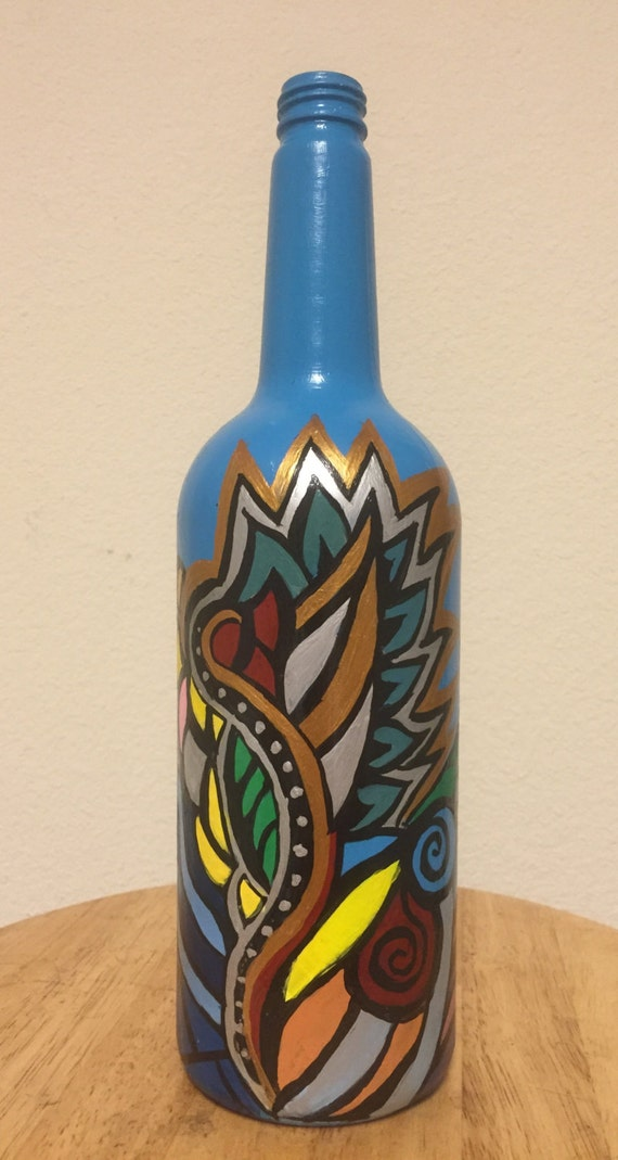 Items similar to hand painted wine bottle on etsy for Hand painted bottles