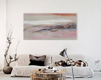 Forever, landscape abstract painting, on display, landscape painting, wall art, collage, mixed media, contemporary art