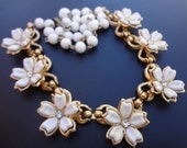 Vintage Flower Necklace Choker with Rhinestones, Estate Costume Jewelry