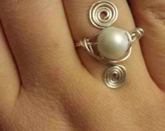 Orbital Silver and Pearl Ring