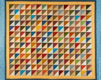 Handmade Geometric Patchwork Quilt Double,King or Queen Bed Throw, Blanket, BedSpread, Triangels,Multicolor
