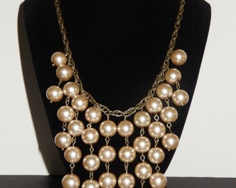 Pearl Bib Necklace with Champagne Glass Pearl Beads