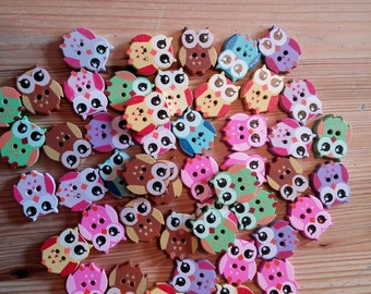 Wooden Owl Buttons × 10