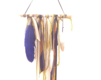 Natural Boho Wall Hanging with Feathers and Crystals