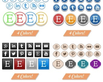 4 Sets x 4 Colors Social Media Collection Color Icons Design Supplies Clipart