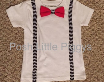 Suspender and Bow Tie Onesie or Shirt