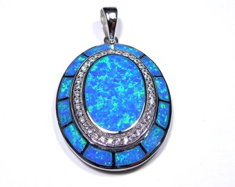 Huge Oval Blue Fire Opal & WHite Topaz Inlay Genuine 925 Sterling Silver Pendant For Necklace