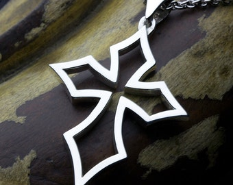 Sterling Silver Wide Pointed Outline Christian Cross Necklace Pendant