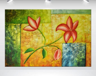 "acrylic, flower painting , abstract art, canvas art, wall art, large paintings, 24 x 36"", green yellow, lily modern art stretched canvas art"