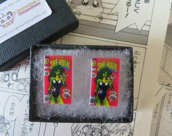 She Hulk Comic Book Cover Earrings or Cufflinks - Superhero Smash Hero Wonderwoman Pow Bam