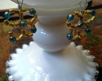 Gold and teal flower earrings
