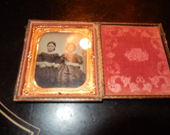 ANTIQUE PHOTO of TWO Girls in Case