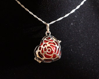 "Gentle Chime Tilted Rose Heart Pendant with Multiple Color Options in 925 Sterling Silver With 18"" or 22"" Sterling Silver Chain"