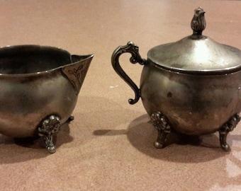 Vintage Silverplated Matching Creamer & Sugar Bowl from Hong Kong