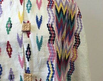 1970's Aztec Inspired Embroidered Cotton Cape