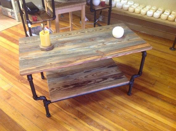 black pipe coffee table. Black Bedroom Furniture Sets. Home Design Ideas