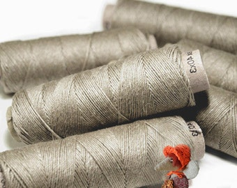 Set of Linen Thread 5/10/20 Natural Grey Spools hand & machine quilting sewing craft lace jewelry